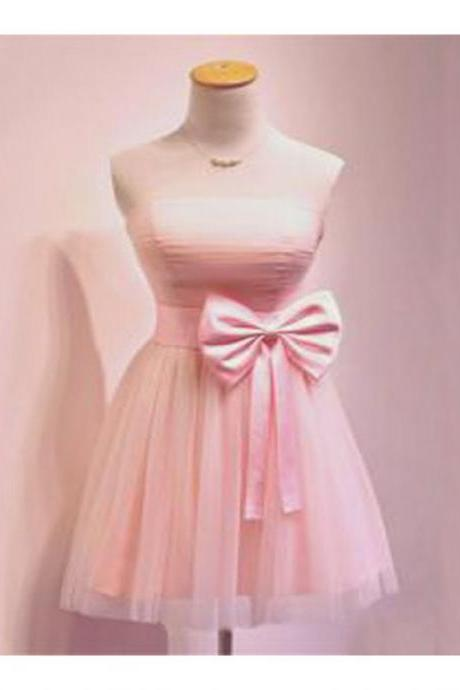 Pink Homecoming Dresses Open Back Sleeveless A-Line/Column Strapless Above Knee Bow