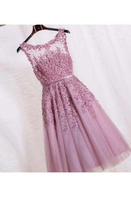 Purple Homecoming Dresses Zipper-Up Sleeveless A-Line/Column Round Neck Short Tulle