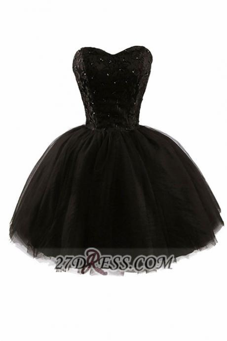 Black Homecoming Dresses Lace-Up Sleeveless Ball-Gown Sweetheart Neckline Above Knee Beadings