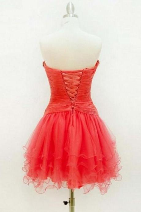 Red Homecoming Dresses Lace-Up Sleeveless A-Line/Column Sweetheart Neckline Above Knee Lace