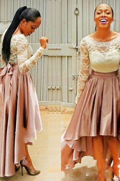 Blush Homecoming Dresses Zipper-Up Long Sleeves A Line Bateau Hi-Lo Charmeuse Lace