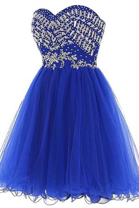 Royal Blue Homecoming Dresses Zippers Sleeveless Aline Sweetheart Neckline Above Knee Tulle Rhinestone