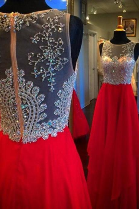 Red Homecoming Dresses Zipper-Up Sleeveless A lines Jewels Floor Length Chiffon Beadings