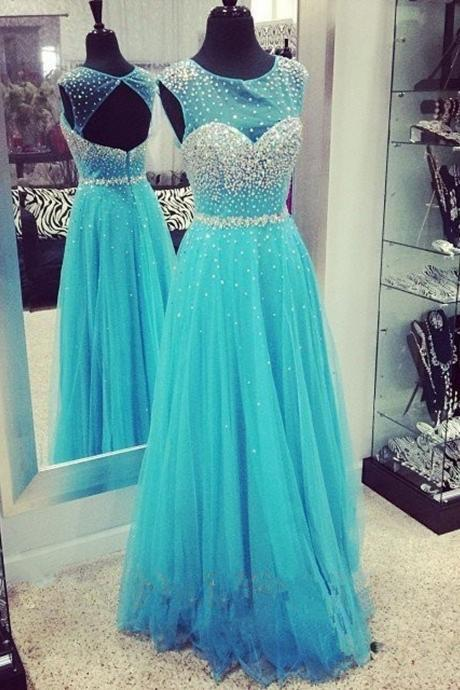 Cap Sleeves Long Beading Blue Elegant Open Back Prom Dresses K84