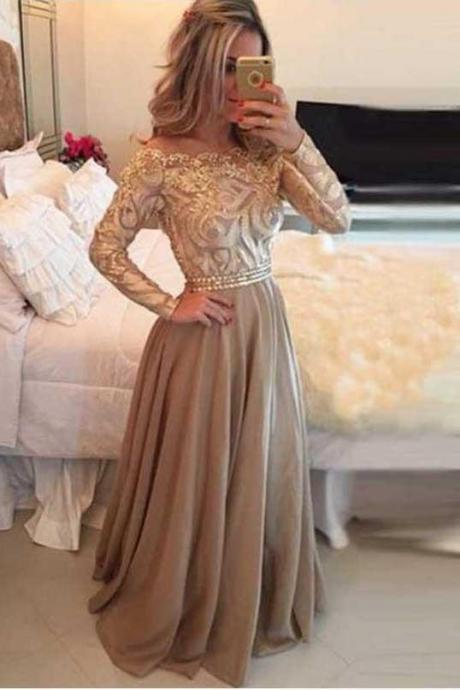 Unique A-Line Chiffon Gold Long Sleeves Formal Prom Dresses\/Evening Dresses OK185