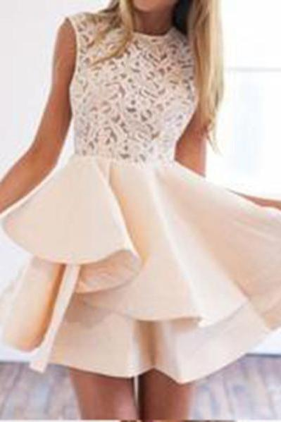 A Line Lace Panel Sleeveless Layered Homecoming Dress,Short Cute Prom Dresses OK285