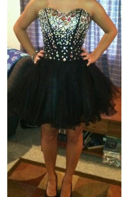 Black Sweetheart Beaded Lace Up Homecoming Prom Dresses K481