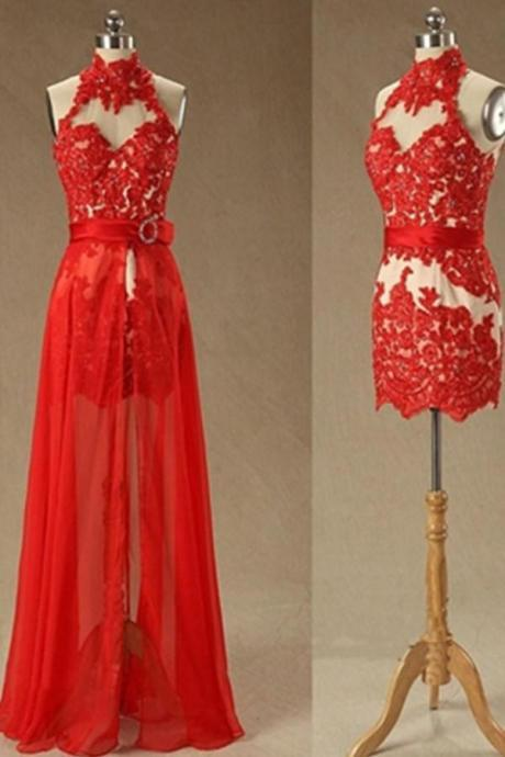 Red Mermaid High Neck Lace Beaded Long Prom Dress Homecoming Dresses K511