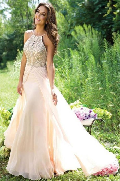 Pear Make Pretty Long Chiffon Beading Backless Prom Dresses For Teens K54