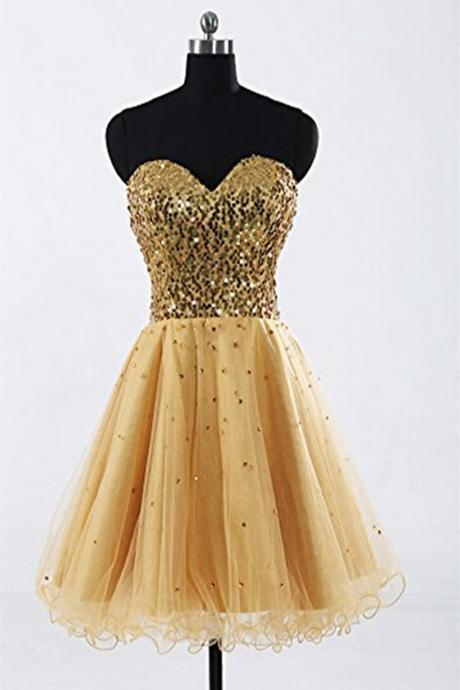 Gold Sweetheart Beaded Backless Back Up Lace Homecoming Dresses ED0679