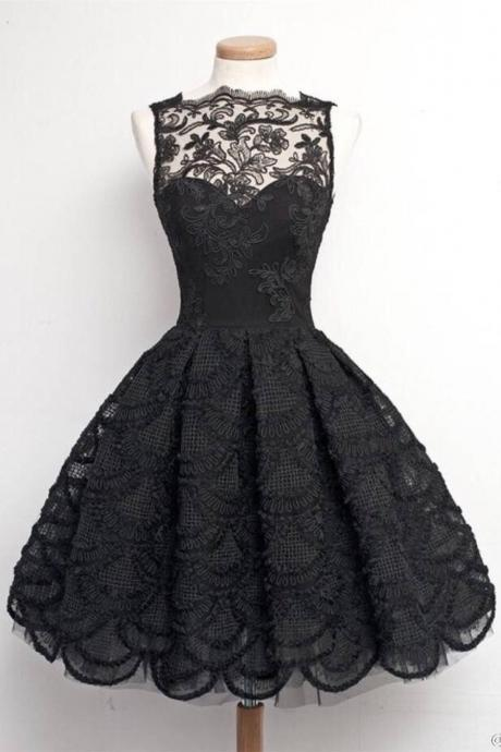 Pretty Gorgeous Black Lace Handmade Vintage Homecoming Dresses K247