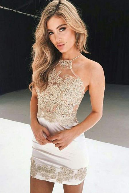 White Short 2017 Sexy Sparkly Homecoming Dresses,Short Woman Cocktail Dresss OK249