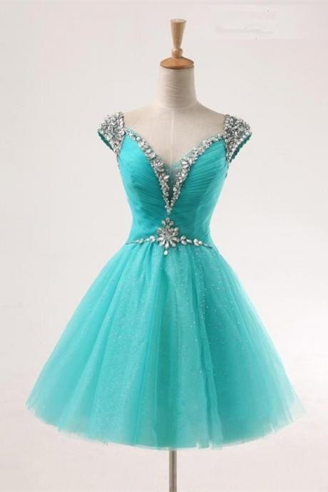 Teal V-neck A-line Short Tulle Beaded Homecoming Dresses K450