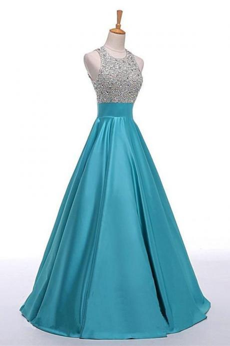 Light Blue Backless Beaded Long A-line Satin Classy Prom Dresses K716