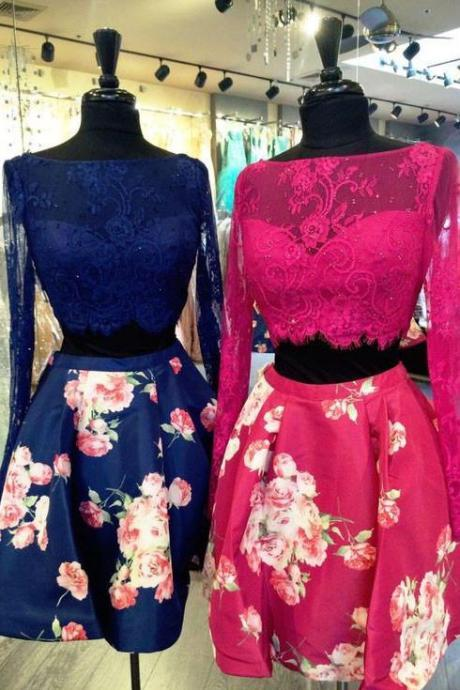 Sexy Two Piece Long Sleeves Prom\/Homecoming Birthday Party Dress Royal Blue Floral with Lace OK329