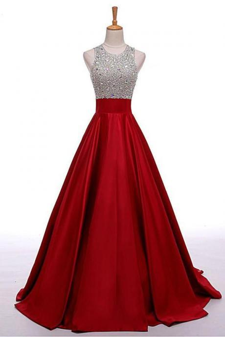 Red Long Beading A-line Prom Dresses, Cheap Satin Formal Evening Dresses For Teens OK153