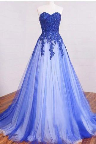 Long Sweetheart Lace Beading Elegant Modest Royal Blue Prom Dresses,Ball Gown Prom Dress OK246