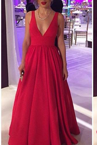 2017 Long Satin Red Prom Gowns,Sexy Backless Evening Party Dresses OK123