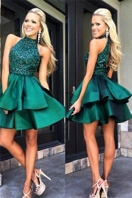 Real Nice Sparkly Backless Green Beaded Halter Homecoming Dresses K418
