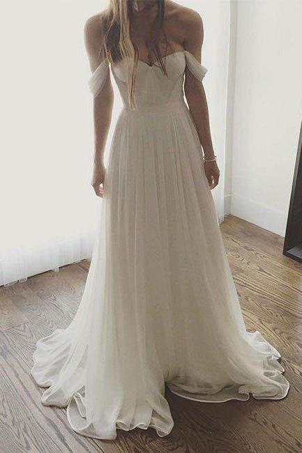 Ivory Chiffon Long Off The Shoulder Wedding Dresses, Simple Long Prom Dress OK169