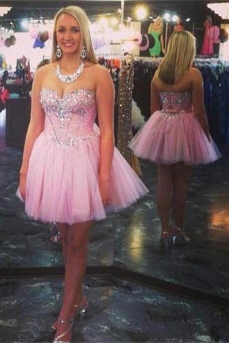 Pink Sweetheart Short Beading Handmade Homecoming Dresses K216