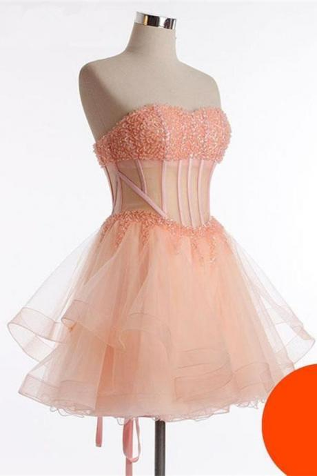 Cute See Through Short Beaded Handmade Lace Up Homecoming Dresses K200