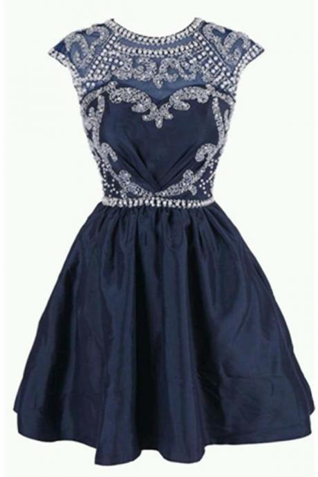Beading Sparkly Short Modest Homecoming Dresses For Teens K196