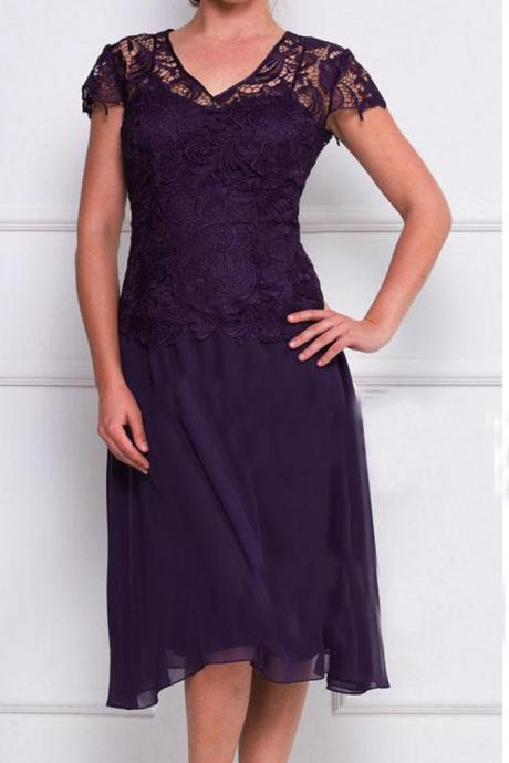 Cap Sleeves lace Knee-Length Mother Of The Bride Dress Wedding Formal Evening Dress OK217