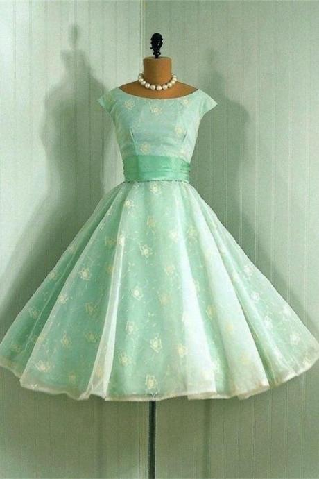 Green Lace A-line High Low Boat Neckline Homecoming Dresses K462