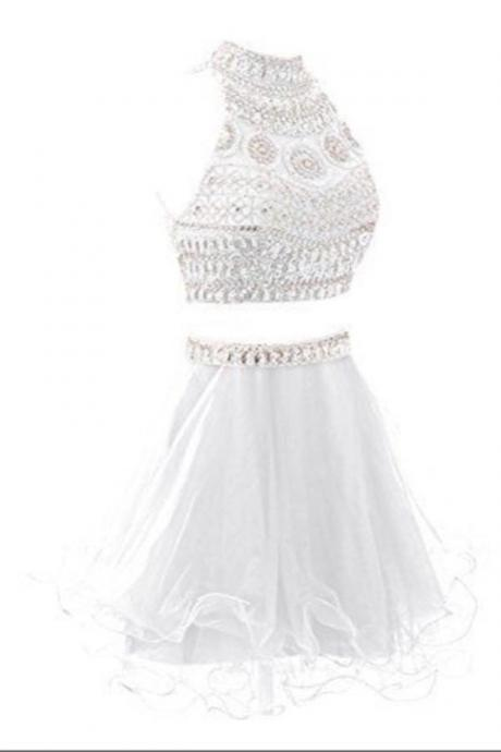 Elegant 2 Pieces Handmade Short White Beaded Homecoming Dresses K379