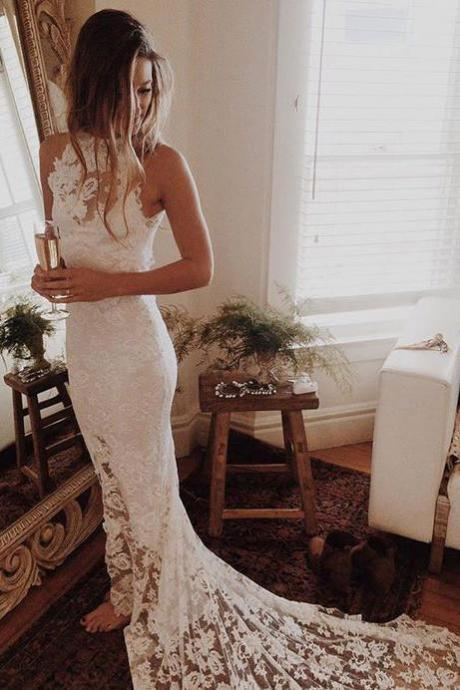 Romantic Boho Beach Wedding Dresses,Lace Mermaid Princess Backless Wedding Gowns OK167