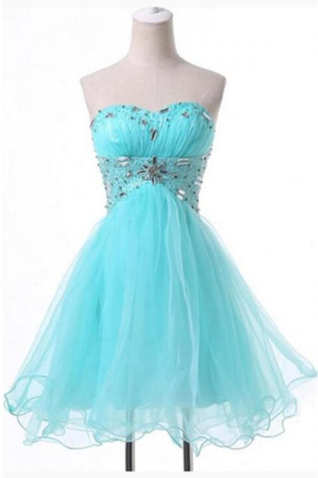 High Low Beading Sweetheart Ice Blue Short Cute Homecoming Dresses K161