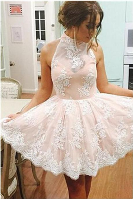 Pink Lace Halter Short A-line Girly Cute Homecoming Cocktail Dresses K547