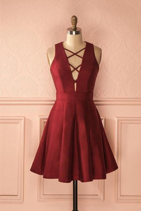 Simple Burgundy Satin A-line Deep V-neck Short Homecoming\/Prom Dresses,Graduation Dresses OK291