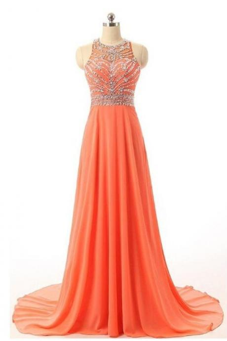 Pretty Cap Sleeves Orange Long Chiffon Beading Prom Dresses K102