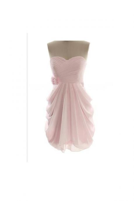 Short Simple Cheap Chiffon Pink Sweetheart Bridesmaid Dresses OK18