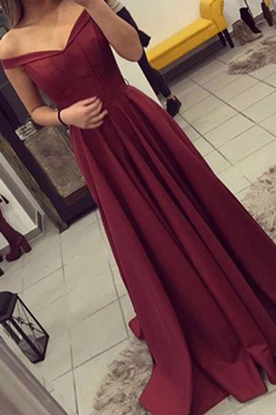 Simple Burgundy Off The Shoulder Long Prom Dresses\/Evening Gown OK133