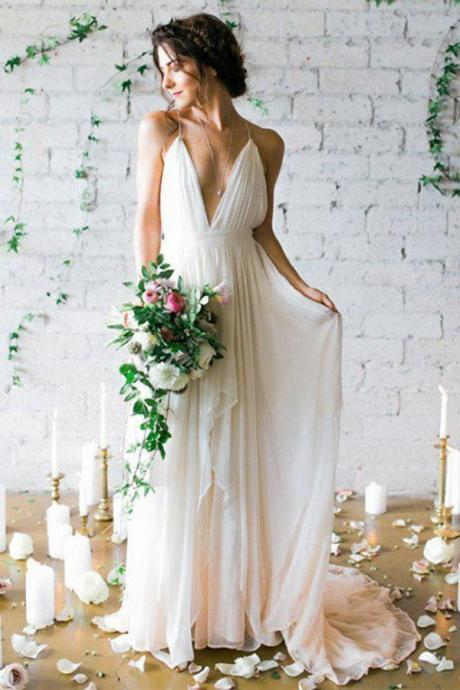 Simple Backless Beach Summer Wedding Dresses, Chiffon LongWedding Gowns OK108