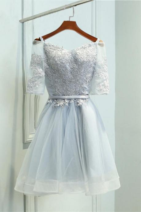 A-Line Off-the-Shoulder Short Half Sleeves Grey Tulle Homecoming\/Prom Dress OK318