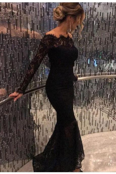 Mermaid Black Elegant Off the Shoulder Long Lace Long Sleeves Sexy Prom Dress OK141