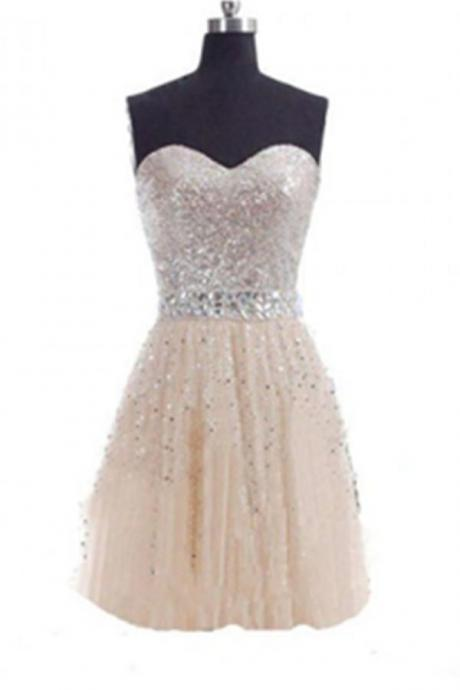 Sweetheart Sequin Shiny Tulle Handmade Short Homecoming Dresses K508