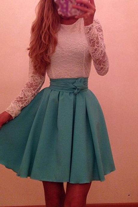 Elegant Pretty Long Sleeves Lace Homecoming Dress With Belt K175