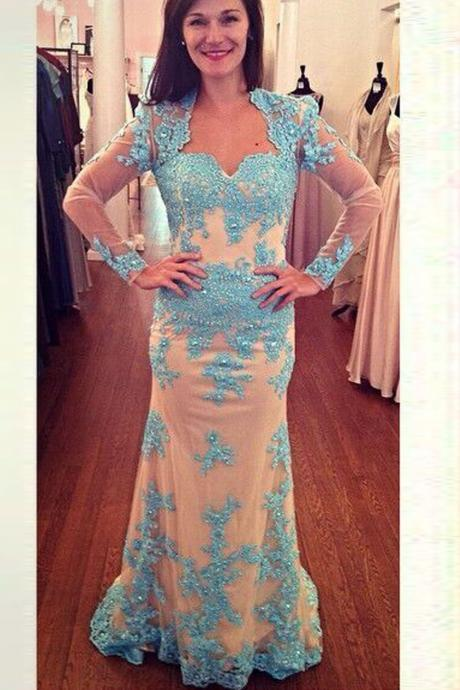 Lace Beading Mermaid Open Back Long Sleeves Modest Prom Dresses K100