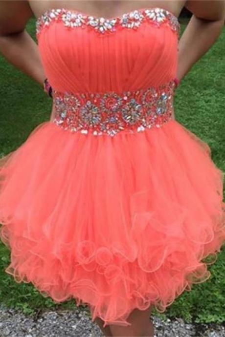 Watermelon Strapless Short Beading Tulle Homecoming Dresses K391