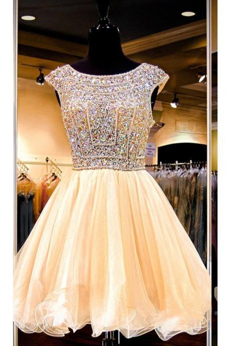 Open Back Short Sparkly Gorgeous Formal Homecoming Dresses K313