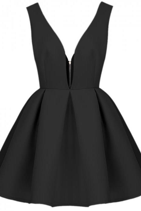 A lines Homecoming Dresses Deep V Neck Homecoming Dresses Black Cocktail Dresses Pleats Cocktail Dresses