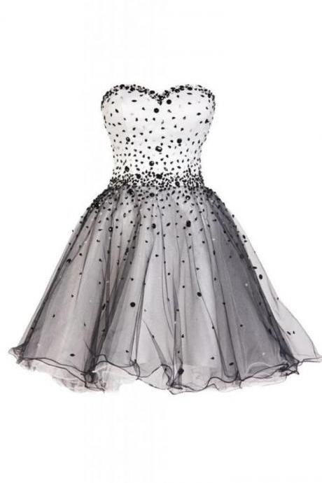 Beaded Embellished Sweetheart Short Tulle A-Line Homecoming Dress