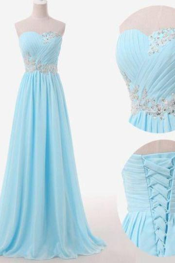 Floor Length Homecoming Dresses A-Line/Column Prom Dresses Sweetheart Neckline Evening Dresses Light Blue Evening Dresses