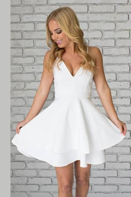White Homecoming Dresses Above-Knee Homecoming Dresses Sleeveless Homecoming Dresses