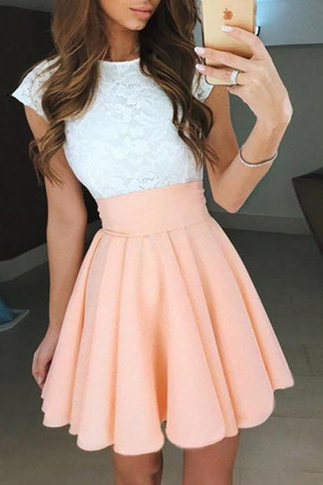 A Line Homecoming Dresses Pink Homecoming Dresses Ruching Homecoming Dresses